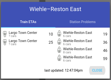From MetroHero: the next trains to depart Wiehle for Largo leave in 10 and 25 minutes