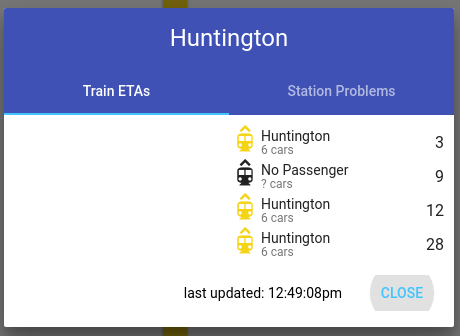 From MetroHero: the next train departing Huntington will do so at some point in the future maybe, we still don't know